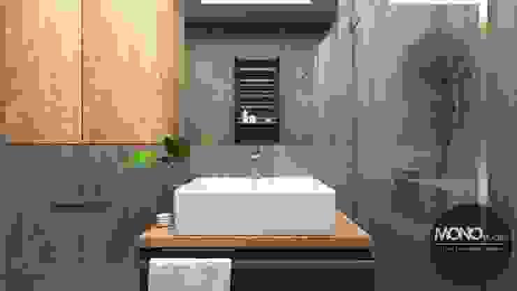Łazienka w ciemnych odcieniach MONOstudio Nowoczesna łazienka