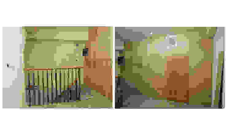 改造前從另一座樓梯上去,也被臨時隔間封得密不通風。 根據 wanchan interior / 萬仟工程有限公司