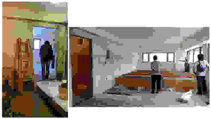 改造前二樓樓梯已被打掉,不得其門而入,只好在牆面切出一個門洞,果不其然也只能看到天花板骨架和一半的樓板…. 根據 wanchan interior / 萬仟工程有限公司