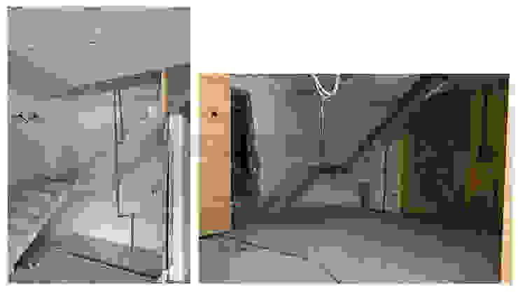 改造進行,由於屋主打算以第三戶的樓梯作為統一出入口,多出的第一戶樓梯,被設計師神來一筆縱切一半,作為階梯狀儲物櫃。 根據 wanchan interior / 萬仟工程有限公司