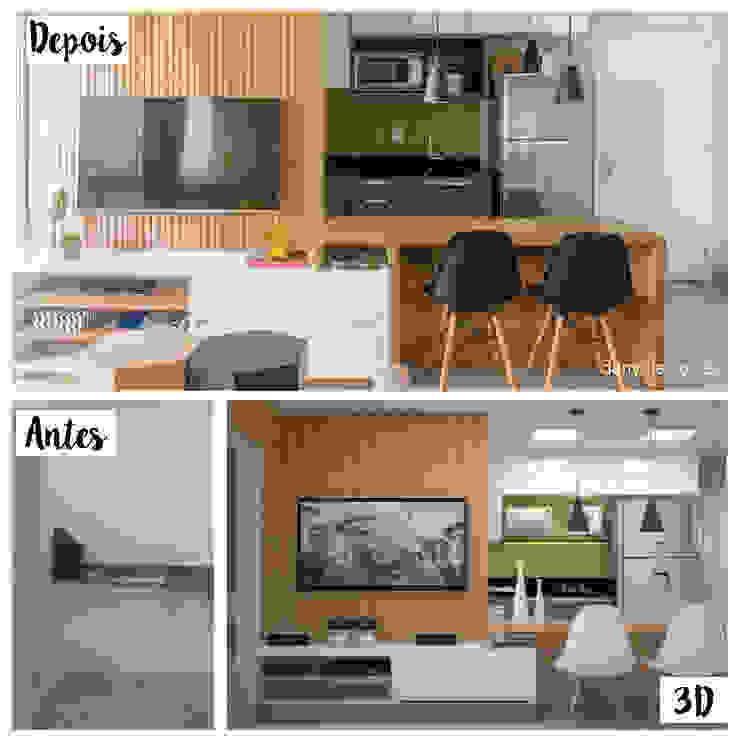 Antes e Depois - Cozinha Integrada com Sala de Estar Danyela Corrêa Arquitetura Cozinhas modernas