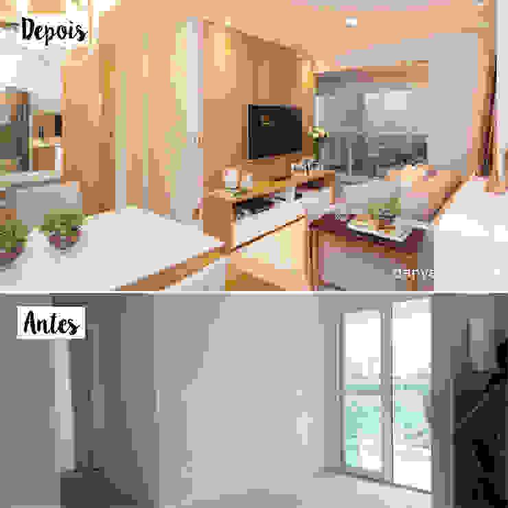 Antes e Depois - Sala de Estar Integrada com Varanda Danyela Corrêa Arquitetura Salas de estar modernas