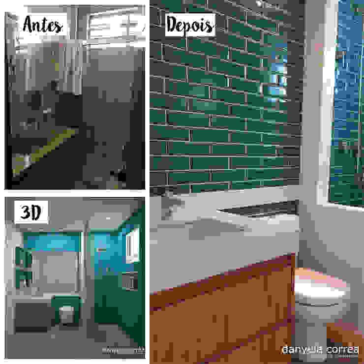 Antes e Depois - Com Revestimentos Azuis Danyela Corrêa Arquitetura Banheiros modernos