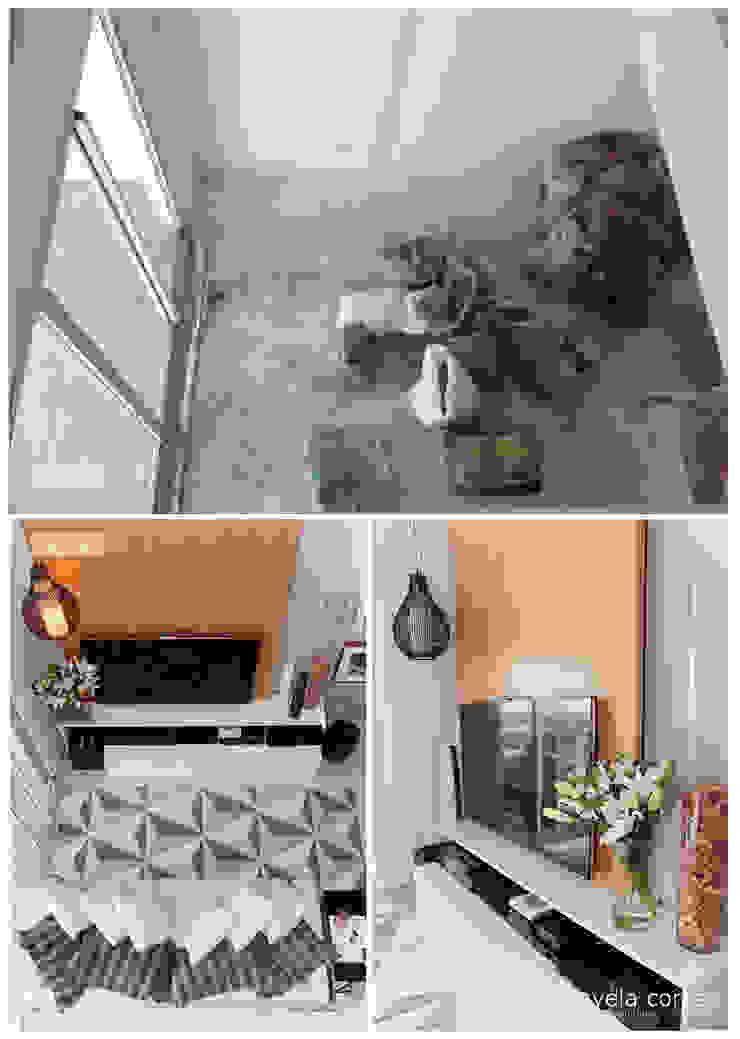 Antes e Depois - Sala de Estar Danyela Corrêa Arquitetura Salas de estar modernas