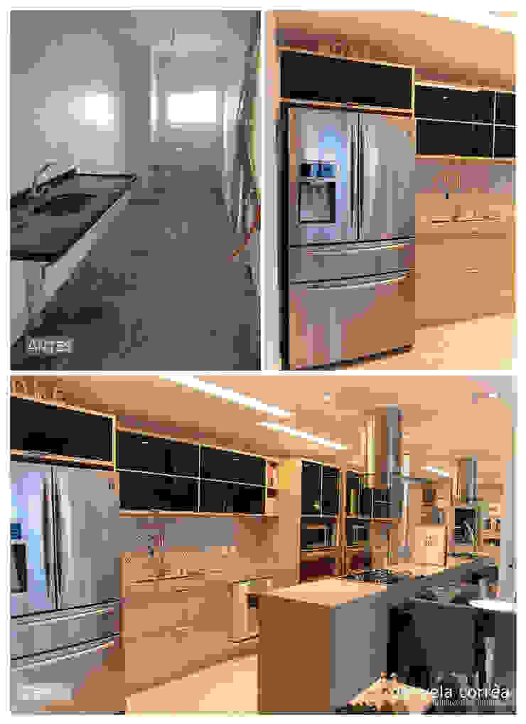 Antes e Depois - Cozinha Danyela Corrêa Arquitetura Cozinhas modernas