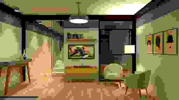 现代客厅設計點子、靈感 & 圖片 根據 Studio Escala Arquitetura e Interiores 現代風