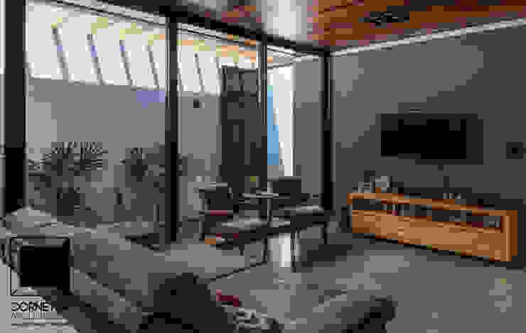 Cornetta Arquitetura Salas de estilo moderno Concreto