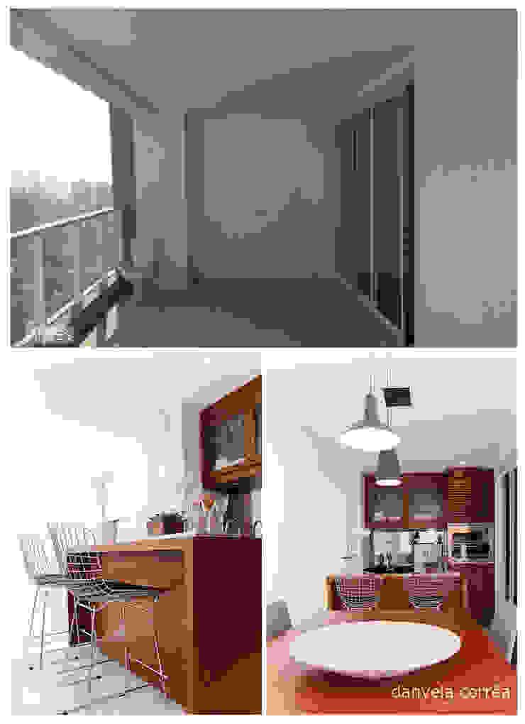 Antes e Depois - Varanda Gourmet Danyela Corrêa Arquitetura Varandas, alpendres e terraços modernos