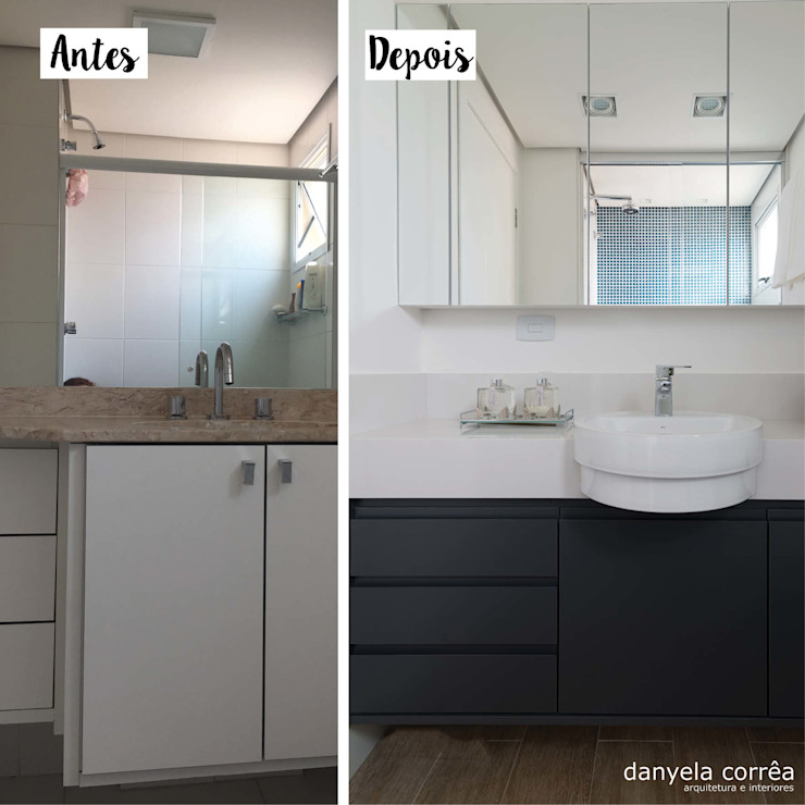 Antes e Depois Danyela Corrêa Arquitetura Banheiros modernos