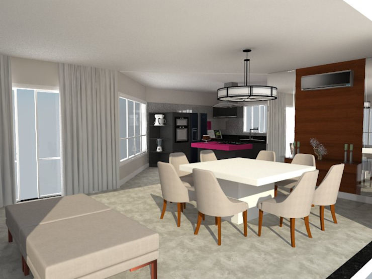 RESIDENCIA 03 – GENESIS II AJR ARQUITETURA Salas de jantar modernas