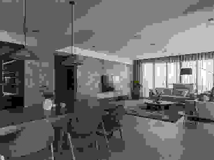 絢染.縱觀 现代客厅設計點子、靈感 & 圖片 根據 拾葉 建築室內設計 現代風