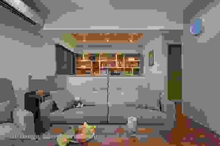 開放客廳與書房 根據 Hi+Design/Interior.Architecture. 寰邑空間設計 北歐風