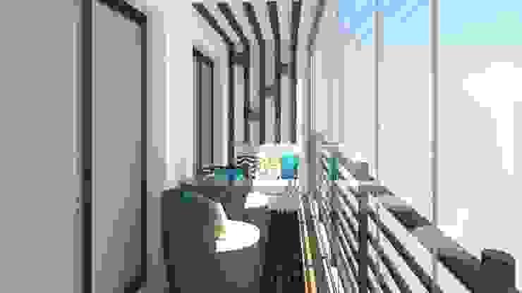 Projeto 3D - Apartamento Montijo: Terraços  por Ana Andrade - Design de Interiores