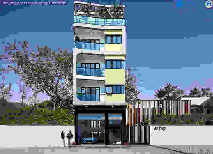Mặt tiền mẫu biệt thự 5 tầng đẹp bởi Văn phòng kiến trúc Ktshanoi