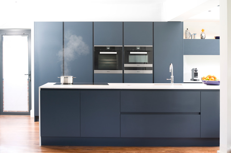 Pedini Arkè in Blue Night and Elm Modern Kitchen by Urban Myth Modern