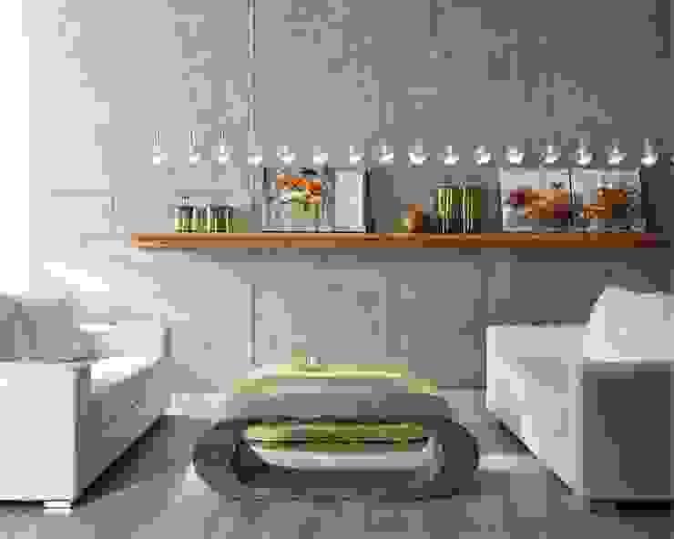 Tavolino da salotto / porta TV in pietra fossile: Soggiorno in stile  di Viadurini
