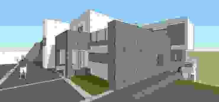 Pespectiva de la fachada MARATEA estudio Casas de estilo minimalista Concreto