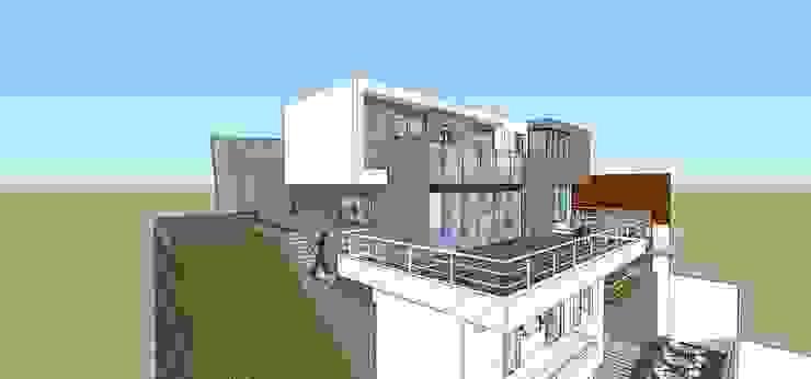 Fachada posterior MARATEA estudio Casas de estilo minimalista Concreto Gris