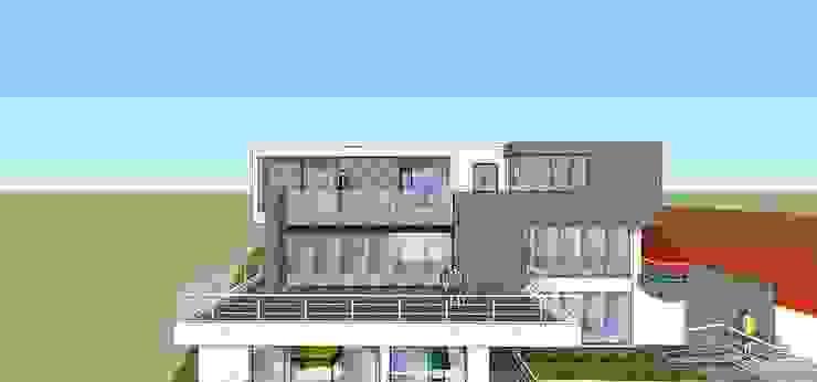 Fachada posterior MARATEA estudio Casas de estilo minimalista Vidrio