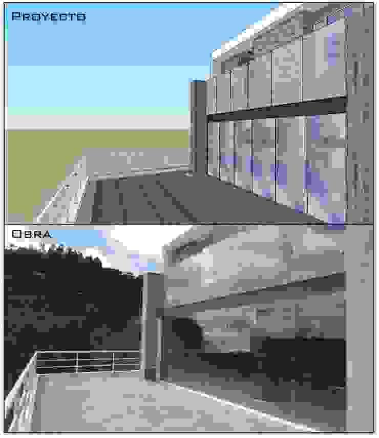 Terraza posterior (proyecto y obra) MARATEA estudio Casas de estilo minimalista Vidrio Gris