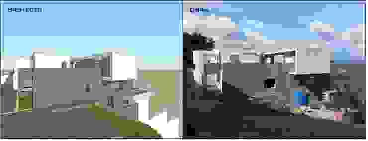 Fachada lateral (Proyecto y obra) MARATEA estudio Casas de estilo minimalista Concreto Gris