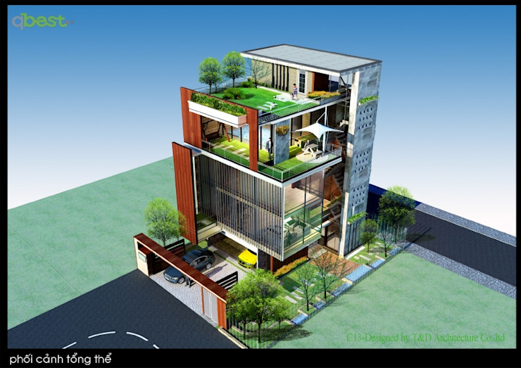 Villa de style  par Công ty TNHH Thiết kế và Ứng dụng QBEST, Moderne