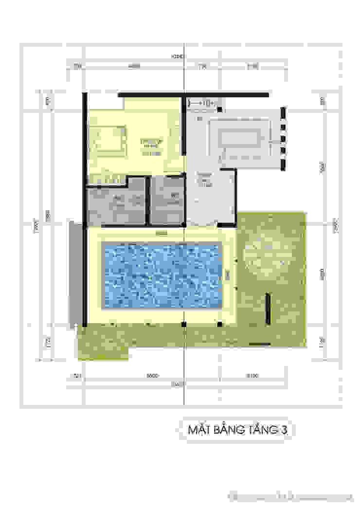 Thiết kế kiến trúc biệt thự Tường & sàn phong cách hiện đại bởi Công ty TNHH Thiết kế và Ứng dụng QBEST Hiện đại