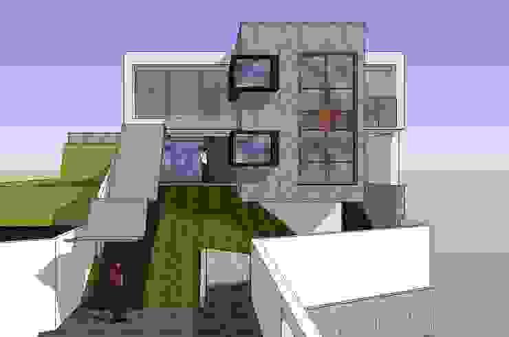 Fachada principal MARATEA estudio Casas de estilo minimalista Concreto Gris