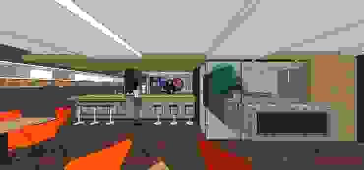 Sotano Siete   Pizza & Caffé @sotanosiete. Vista frontal de la barra MARATEA estudio Restaurantes Madera Marrón