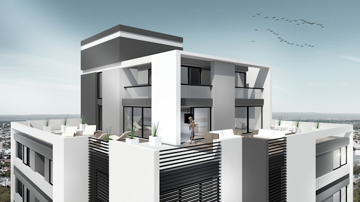 EDIFICIO AGUILA IV Balcones y terrazas modernos: Ideas, imágenes y decoración de Proa Arquitectura Moderno