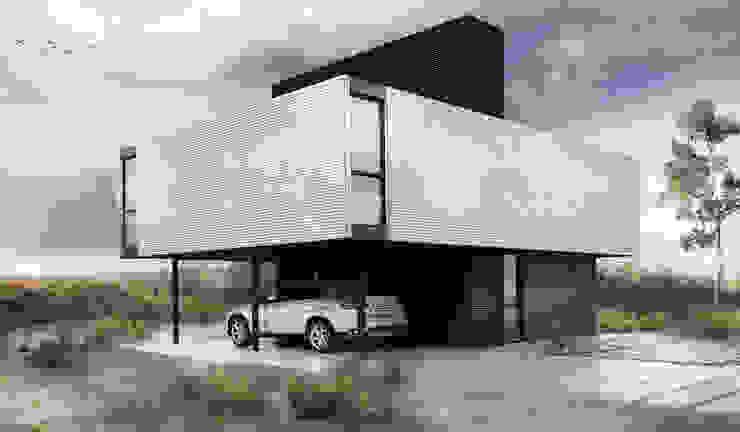 Proa Arquitectura Camera da letto minimalista Metallo Bianco