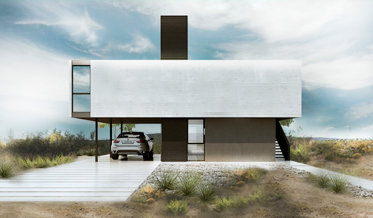Proa Arquitectura Minimalist style garden Metal White