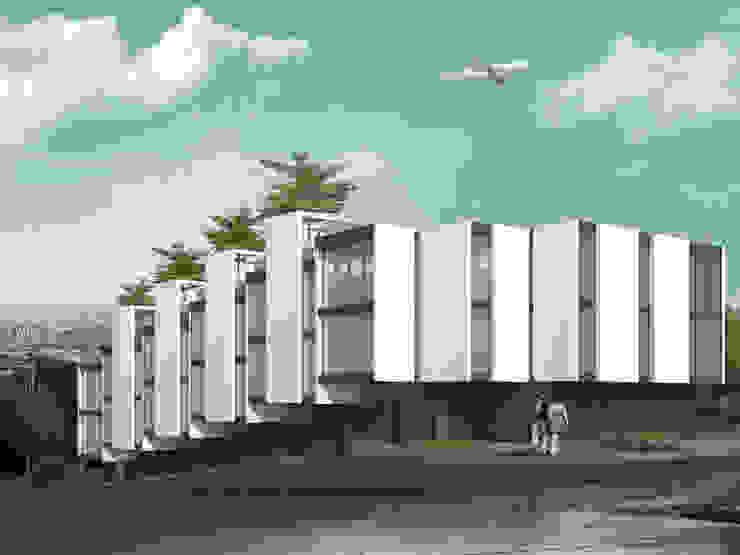 Departamentos en Barrio Gamma Dormitorios minimalistas de Proa Arquitectura Minimalista Ladrillos