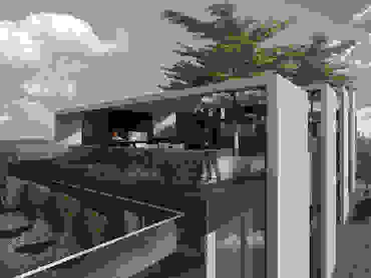 Departamentos en Barrio Gamma Balcones y terrazas modernos: Ideas, imágenes y decoración de Proa Arquitectura Moderno Hormigón