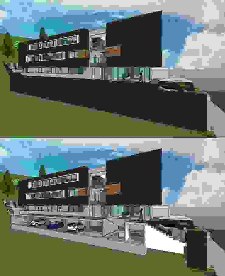Detalle del semisótano de estacionamiento. Casas de estilo minimalista de MARATEA estudio Minimalista