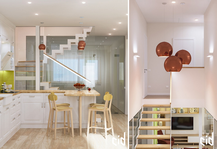 Center of interior design Modern Corridor, Hallway and Staircase