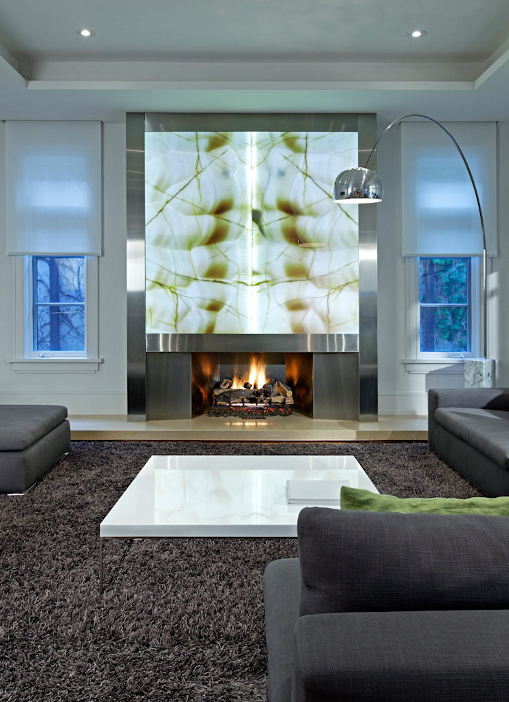 Living Room Fireplace by Douglas Design Studio Modern