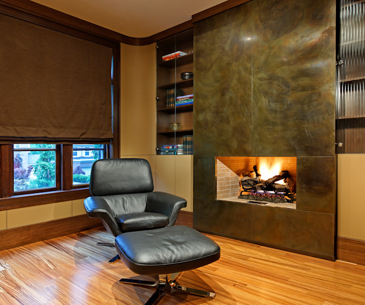 Office Fireplace by Douglas Design Studio Modern