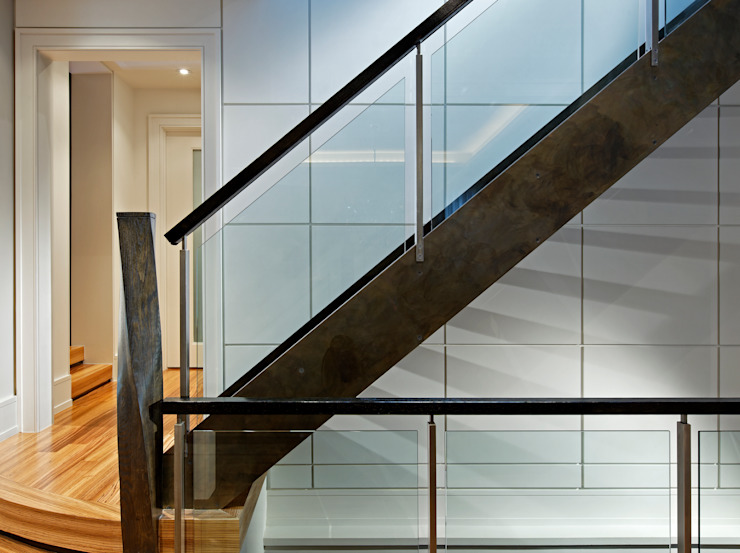 Custom Staircase Modern Corridor, Hallway and Staircase by Douglas Design Studio Modern