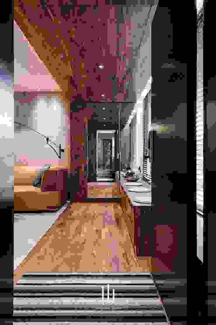 台北西湖-住宅案 現代風玄關、走廊與階梯 根據 山巷室內設計 現代風