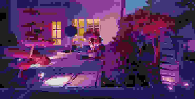 Oświetlenie ogrodu LED z możliwością zmiany kolorów za pomocą pilota Nowoczesny ogród od Polthera Trading Co. Nowoczesny