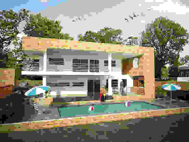 Fachada lateral Casas de estilo minimalista de Project arquitectura s.a.s Minimalista Ladrillos