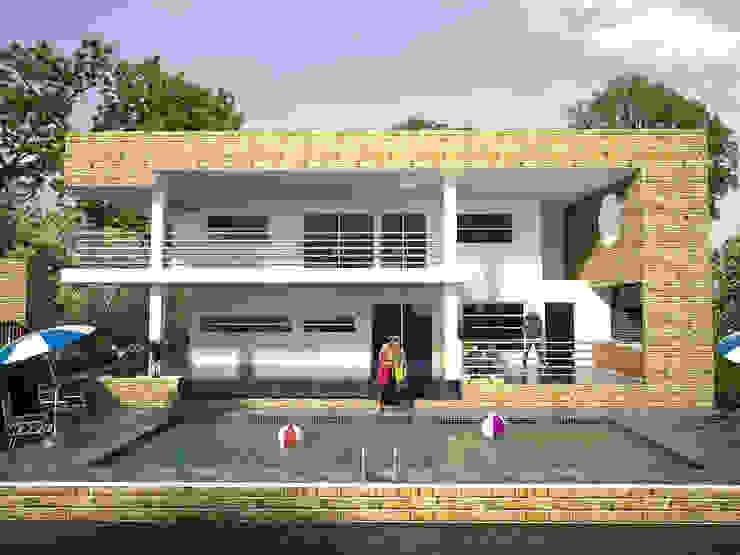 Toma fachada lateral, zona de piscina y BBQ Casas de estilo minimalista de Project arquitectura s.a.s Minimalista