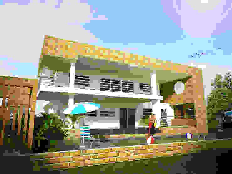 toma, fachada lateral (piscina, BBQ, solárium) Casas de estilo minimalista de Project arquitectura s.a.s Minimalista