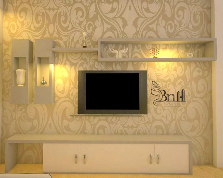 Residential-3BHK-2400sft Modern living room by BNH DESIGNERS Modern