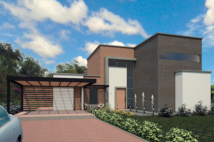 VIVIENDA EL CARMEN: Casas de estilo  por G2 ESTUDIO, Moderno Ladrillos