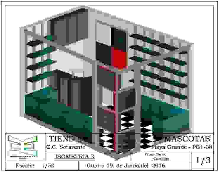 TIENDA MODERNA ERGOARQUITECTURAS FL C.A. Oficinas de estilo ecléctico Vidrio Verde