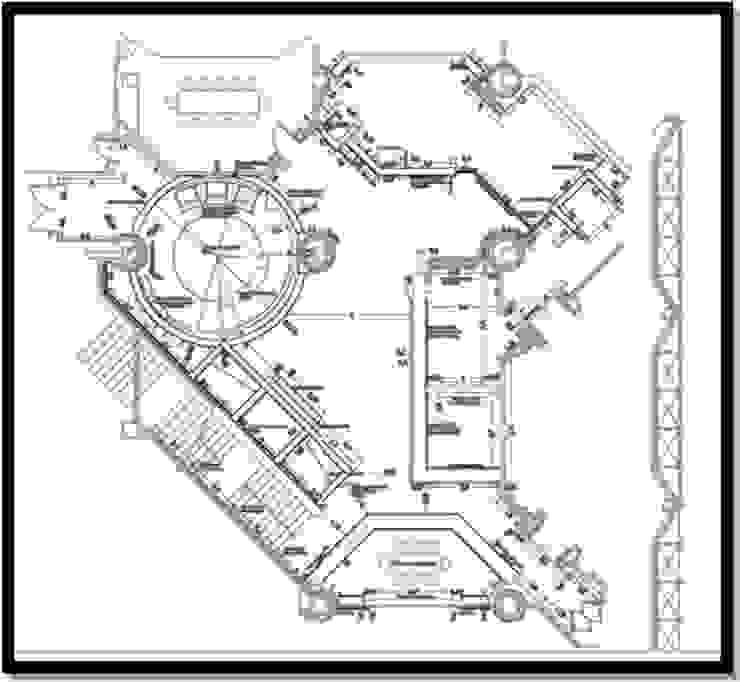Incorporación en plano de pasillo de circulacion Oficinas de estilo industrial de ERGOARQUITECTURAS FL C.A. Industrial Vidrio