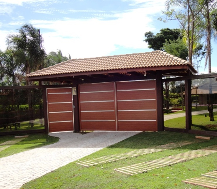 Guilherme Elias Arquiteto Rumah Gaya Country Aluminium/Seng Wood effect