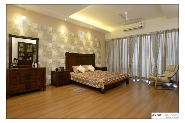 Master Bedroom: modern  by Akruti Interiors Pune,Modern Plywood